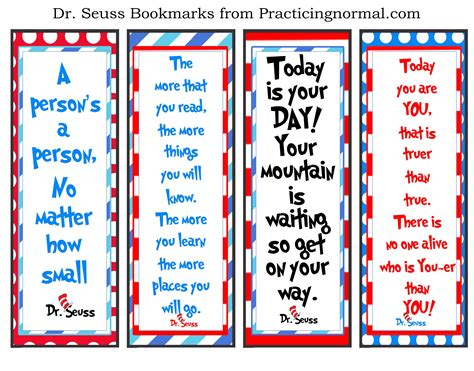printable good reader bookmarks dr seuss bookmarks with quotes free printable from
