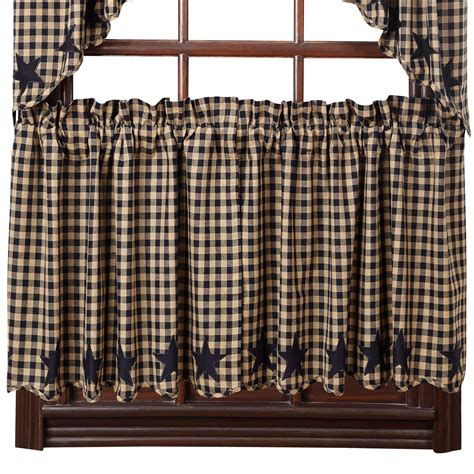 Black Tier Curtains And Check Scalloped Country Curtain Tiers Navy Black Or Burgundy 24 Quot Or 36 Quot