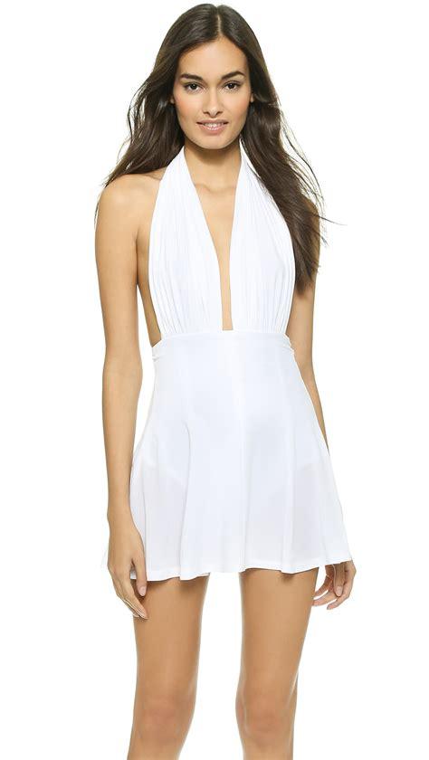 Halter Swim Dress lyst norma kamali halter swim dress white in white