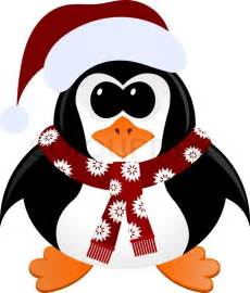 cartoon penguin with christmas hat and scarf stock
