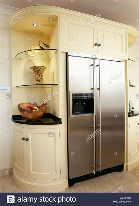 Cream kitchen unit with built in stainless steel American