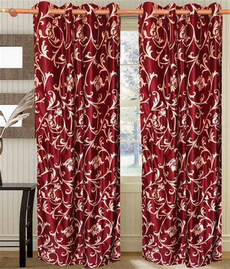 9 ft curtains hargunz red bale curtain 9 ft floral buy hargunz red