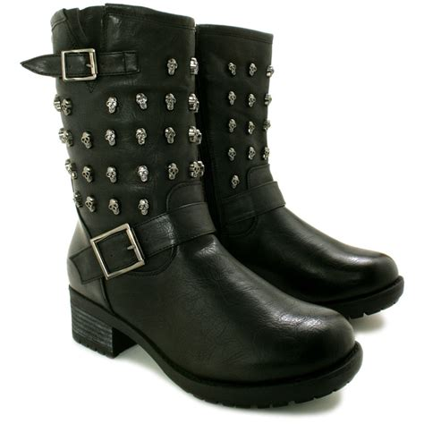 skull boots new womens flat skull stud biker ankle boots size ebay