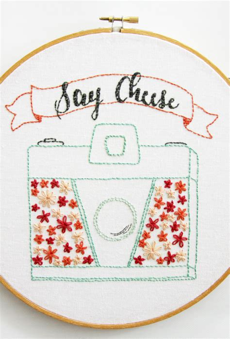 Pink Flamingo Home Decor say cheese retro floral camera embroidery pattern