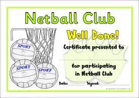 netball club certificates sb8027 sparklebox