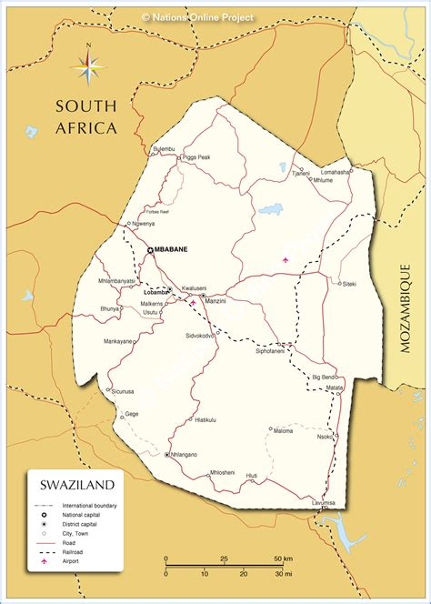 swaziland map political map of swaziland nations project