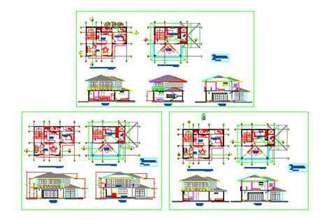 bungalow two section series bloques cad autocad arquitectura download 2d 3d dwg