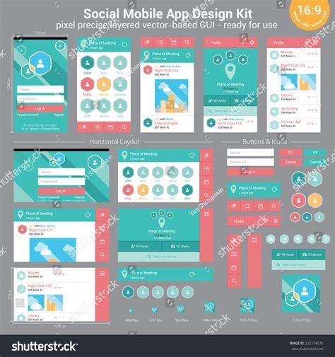 design app gui social mobile app design kit pixel stock vector 222174076