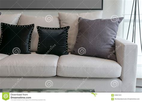 White Sofa Pillows by White Sofa With Black And Grey Pillows In Living Room