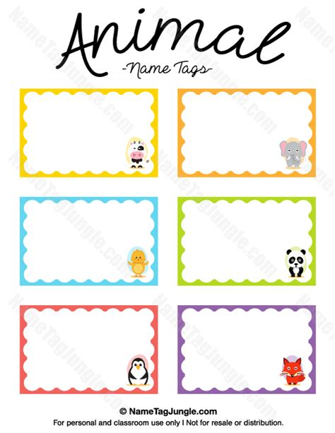 printable name labels for preschool animal name tags preschool ideas pinterest animal