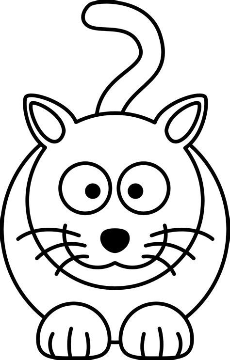lemmling cartoon cat black white line art coloring book