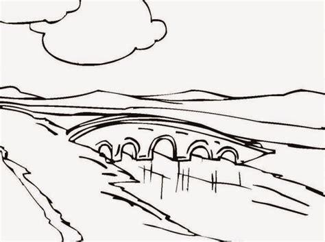 mewarnai pemandangan jembatan sungai bahasapendidikan bahasapendidikan