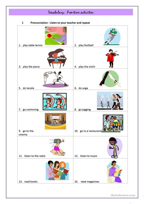 6 free esl free time activities worksheets