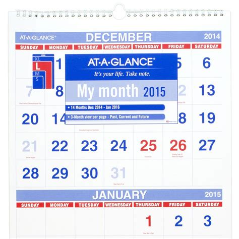 3 Month Wall Calendar At A Glance Pm1128 Vertical Format Three