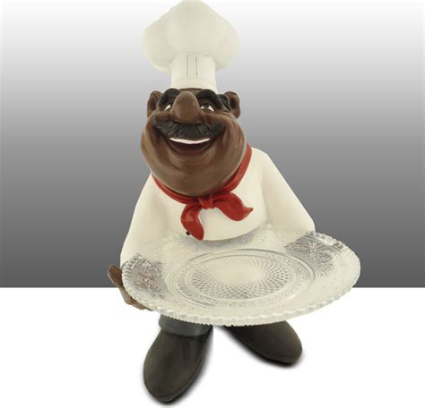 Black Chef Kitchen Decor by Black Chef Kitchen Statue Holding Glass Plate Table