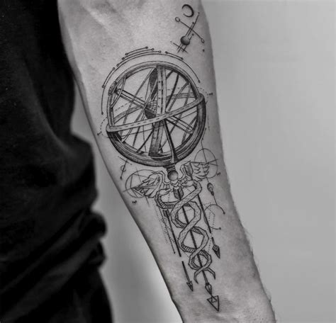 caduceus amp armillary sphere best tattoo design ideas
