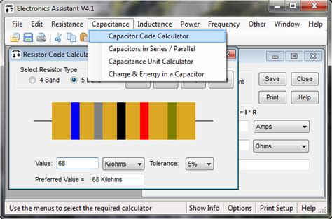 capacitor color code calculator software electronics hobby circuits for beginner s electronics assistant