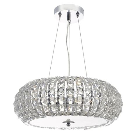 Decorative Ceiling Pendant - contemporary chrome and faceted bead ceiling pendant