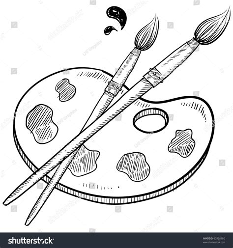 doodle paint doodle style artist vector illustration with paintbrushes