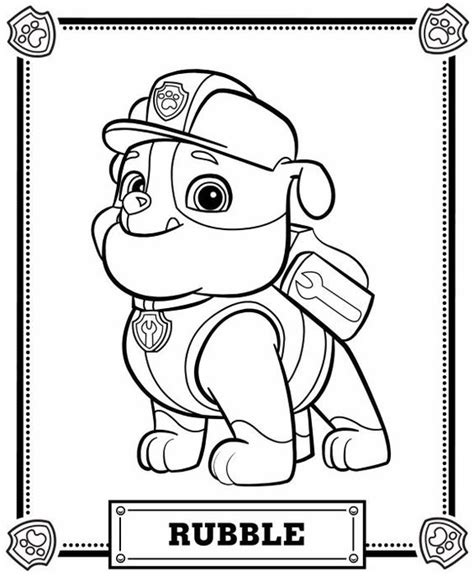 happy birthday pop coloring page paw patrol kleurplaat rubble more4kidz nl