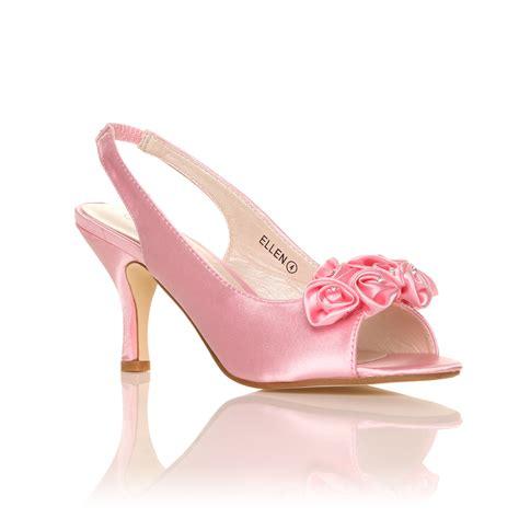 Satin Heels Wedding by New Womens Ivory White Satin Wedding Bridal Shoes
