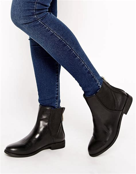 aldo aldo sauma zip back flat chelsea boots at asos