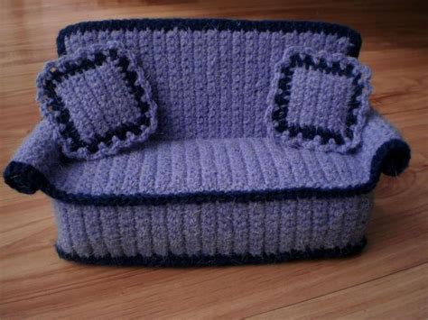 crochet sofa crocheted doll sofa with pillows from crochetdollfurniture