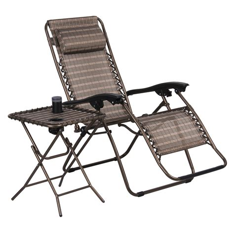 Patio Reclining Chair Finether Folding Bronze Lounge Outdoor Yard Patio Recliner Chairs Side Table Ebay