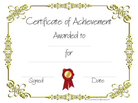 certificates of achievement free templates free customizable certificate of achievement