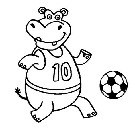 happy hippo coloring page a happy hippo playing soccer coloring page download print