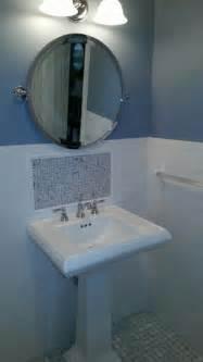 pedestal sink with backsplash bathroom makeover chatham nj 07928 monk s
