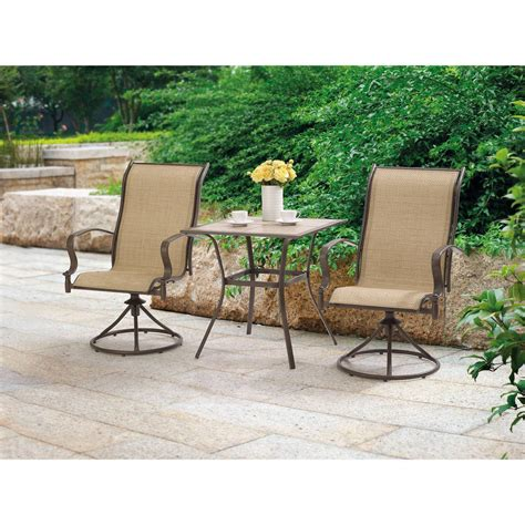 outdoor 3 piece bistro set swivel rocker chairs table