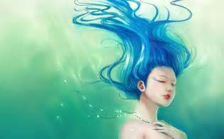 1920x1200 lady with blue hair desktop pc and mac wallpaper