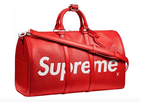 supreme bag louis vuitton x supreme epi keepall bandouliere duffle