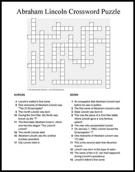 biography of abraham lincoln worksheet answers abraham lincoln crossword puzzle printable