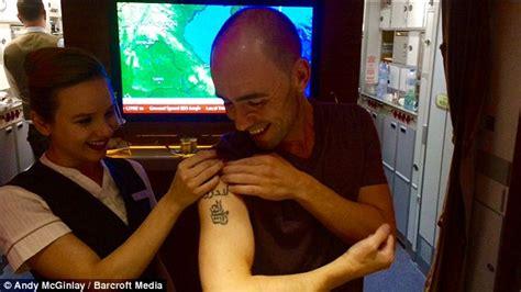 tattoo on wrist cabin crew british teacher andy mcginlay is emirates biggest fan