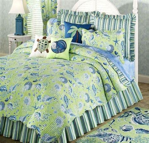 green comforter full green shell full queen quilt set tropical ocean beach