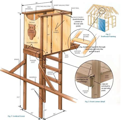 free tree house designs home plans with observation towers