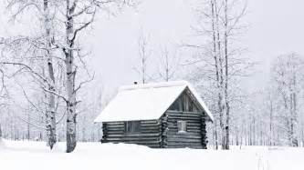 winter snow woods columbia cabin logs wallpaper