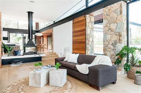 contemporary australian home architecture on yarra river house in stone glass and steel overlooking the yarra river