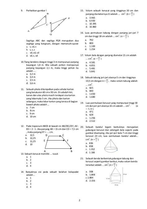 Tabung Diameter 8cm Tinggi 18cm soal matematika kelas 9