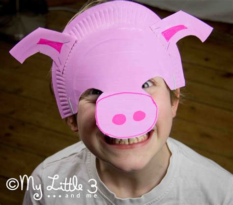 Make Paper Mask - make a paper plate pig mask my 3 and me