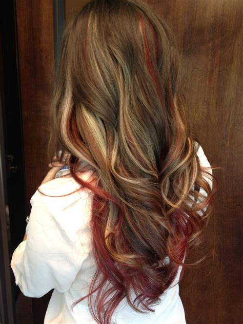 hairstyles blonde and red highlights red and blond highlights long brown hair what will i do