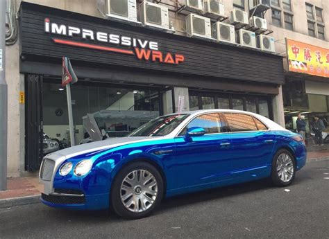 chrome bentley blue chrome carbon wrap for bentley flying spur