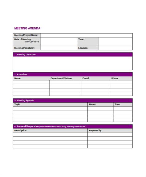 professional agenda template 5 free word pdf documents