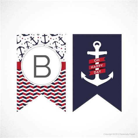 printable alphabet banner in nautical navy red theme