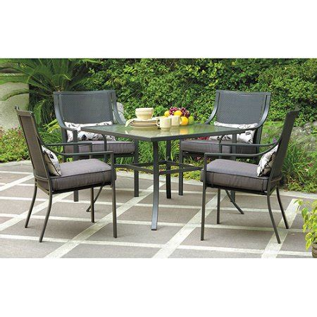 Patio Dining Sets For 4 Mainstays Alexandra Square 5 Patio Dining Set Grey With Leaves Seats 4 Walmart