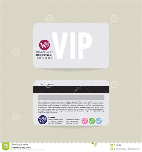 membership id card template front and back vip member card template stock vector