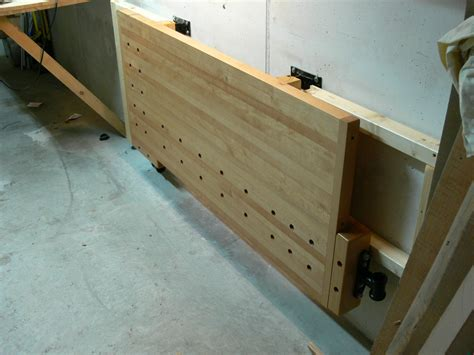 wall mounted folding work bench tommy s wall mounted folding workbench the wood whisperer