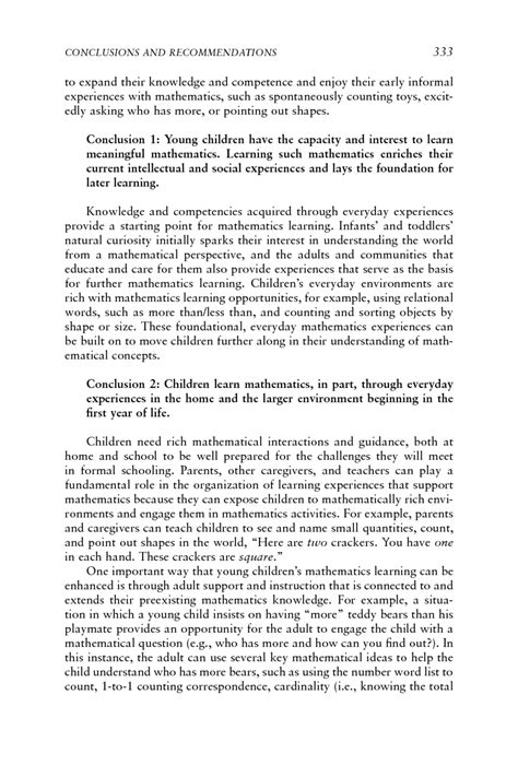 Reflects Culture Essay by 9 Conclusions And Recommendations Mathematics Learning In Early Childhood Paths Toward